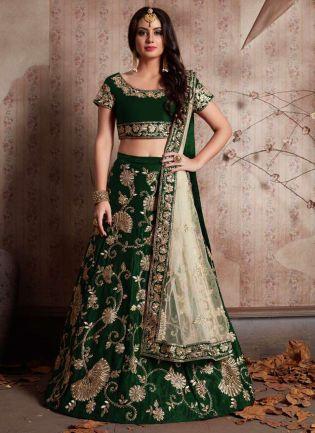Green Machine Embroidery Lehenga Choli With Sequins Embellished
