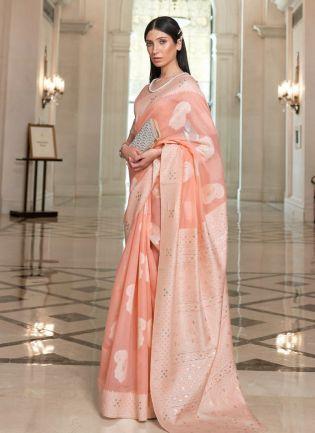 Classic Peach Color Linen Base Lucknowi Look Designer Look Saree