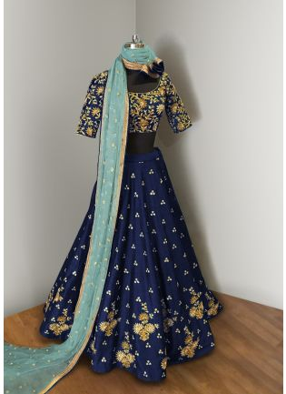 Navy Blue Elegance Lehenga Choli With Light Blue Net Dupatta