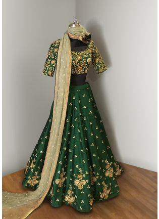 Green Elegance Lehenga Choli With Beige Net Dupatta