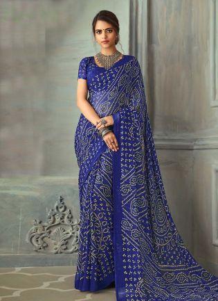 Brilliant Blue Color Bandhej Printed Chiffon Base Saree