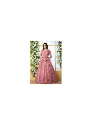 Remarkable Peach Pink Soft Net Base Festive Wear Designer Gown
