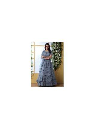 Elegant Cloudy Grey Soft Net Base Ethnic Festive Wear Designer Gown