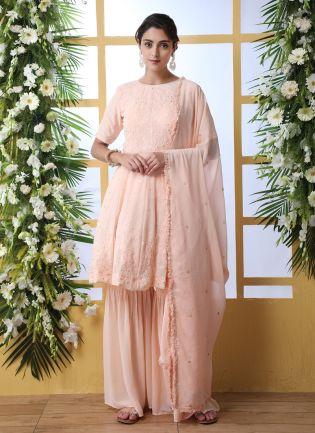 Peach Resham Sequins And Georgette Salwar Suit
