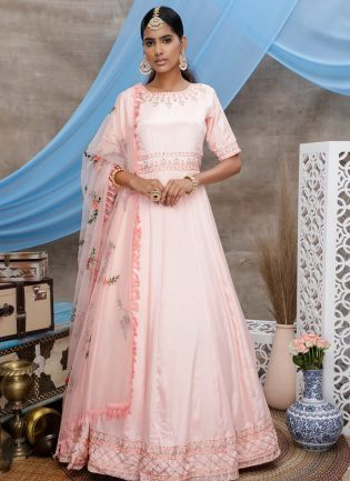 Peach Zari Resham Georgette Soft Net Anarkali Salawar Suit