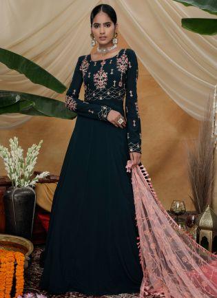 Green Sequins Resham Georgette Soft Net Anarkali Salwar Suit