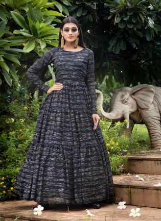 Navy Blue Foil Print Georgette Partywear Anarkali Salwar Suit