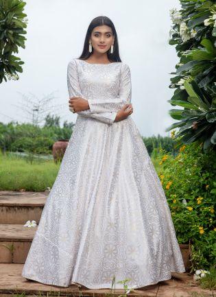 White Foil Print Cotton Anarkali Salwar Suit For Reception