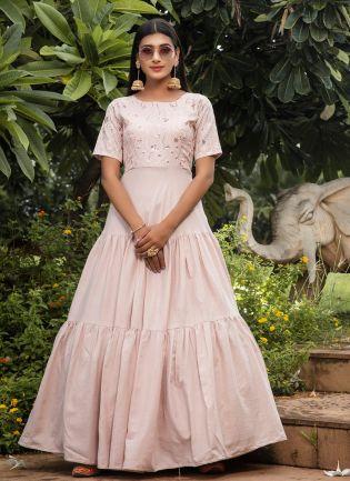Cream Color Resham And Sequins Cotton Anarkali Salwar Suit
