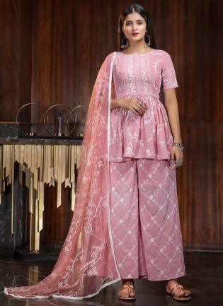 Pink Resham Georgette Festive Palazzo Salwar Suit