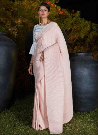 Eye-Catching Baby Pink Color Silk Base Party Wear Saree With Mirror Work Blouse