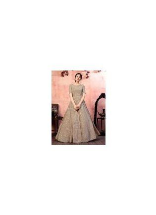 Admiring Beige Color Georgette Fabric Fancy Sequins Work Gown
