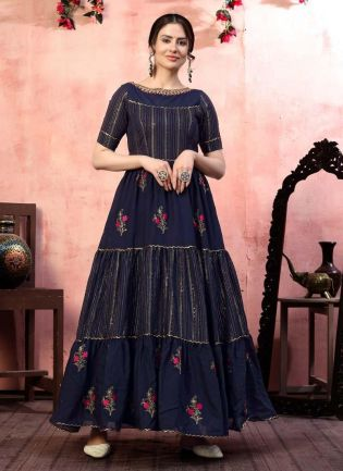 Enthralling Silk Fabric Navy Blue Color Partywear Sequins Work Gown