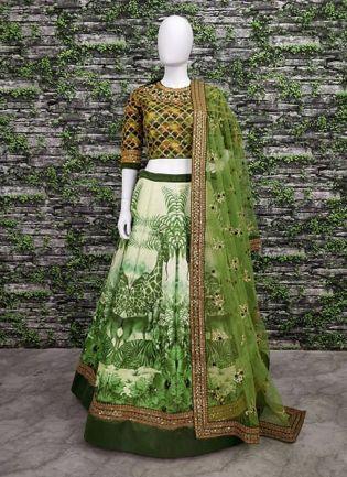 Stunning Grapes Green Wedding Wear Digital-painted and embroidered Lehenga Choli