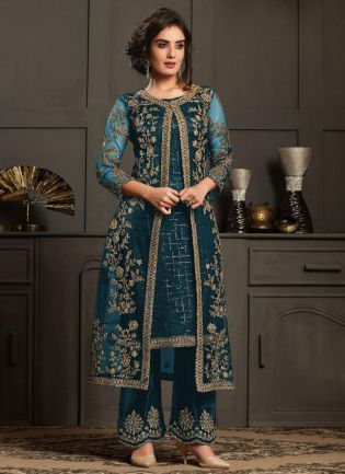 Dazzling Turquoise Color Pant Style Suit
