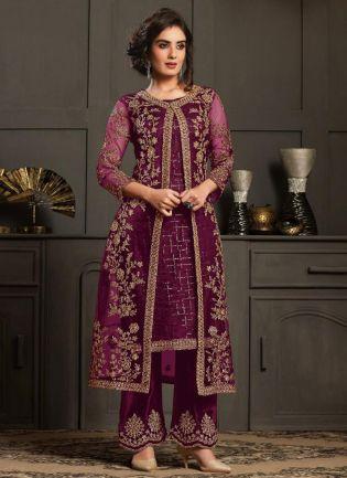 Dazzling Purple Color Pant Style Suit
