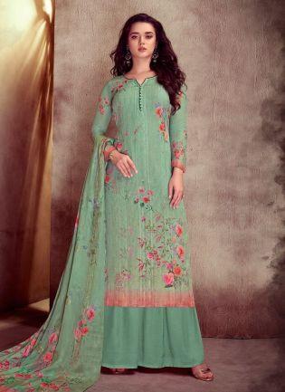 Beautiful Pastel Green Color Cotton Fabric printed Palazzo Salwar Kameez