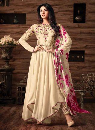 Fantastic Off-White Color Georgette Base Salwar Kameez