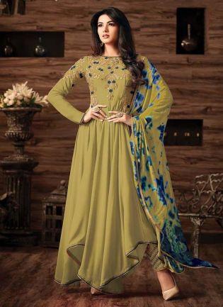 Exquisite Olive Green Color Georgette Base Salwar Kameez