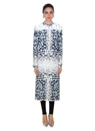 Ecru, Grey And Blue Leaf Illusion Print Kurti