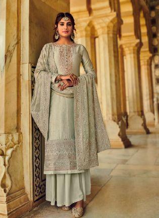 Elegant Grey Color With Beautiful Embroidery work Salwar kameez