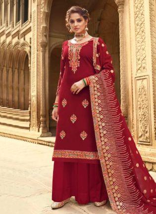 Royal Look Maroon Color Georgette Base Wedding Wear Palazzo Suit