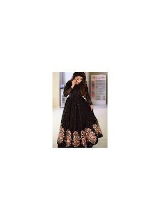 Gorgeous Black Color Net Base Designer Gown