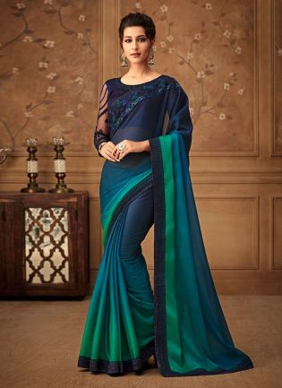 Shaded Blue And Green Color Silk Base Heavy Work Designer Look Saree