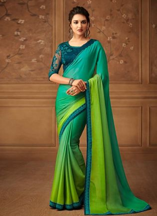 Green And Turquoise Shaded Color Silk Base Heavy Work Designer Saree