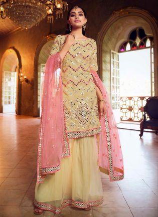 Cool Beige Color Organza Base Heavy Work Wedding Wear Sharara Suit