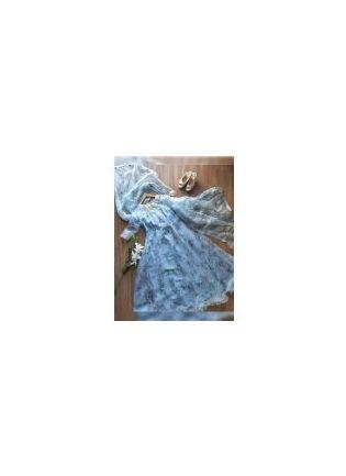 Sky Blue Color Party Wear Organza Gown