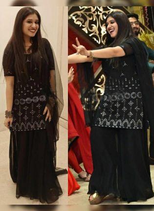 Black Color Georgette Base Designer Umbrella Flair Sharara Suit