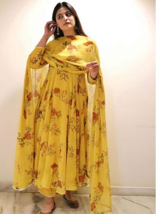 Trendy Yellow Color Georgette Base Printed Pant Style Salwar Suit