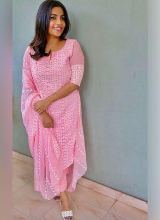 Charming Pink Color Georgette Base Designer Pant Style Salwar Suit