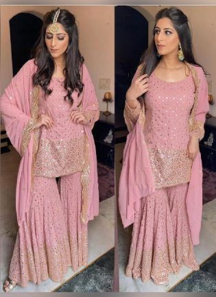 Exquisite Peach Pink Color Georgette Base Wedding Wear Designer Sharara Salwar Suit