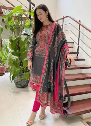 Beautiful Black Color Rayon Cotton Base Pant Style Suit