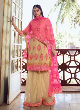Decent Look Beige Color Organza Base With Heavy Work Sharara Suit