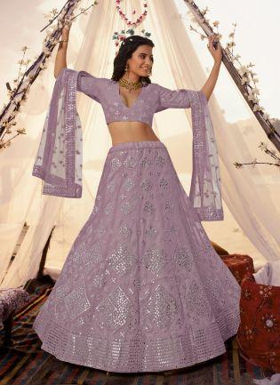 Lavender Foil Mirror Resham Lehenga Choli Set