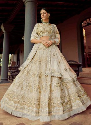 Chic Off-White Color Georgette Base With Sequins And Zari Work Flared Lehenga Choli