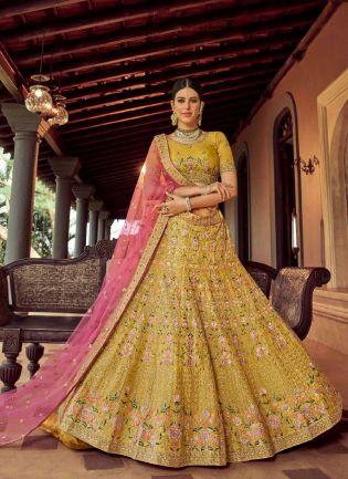 Glamorous Mustard Yellow Color Organza Base Bridal Wear Lehenga Choli