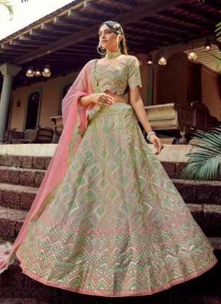 Alluring Green Color Organza Base Designer Bridal Wear Lehenga Choli