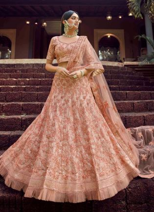 Pleasing Peach Color Georgette Base With Sequins And Resham Work Lehenga Choli
