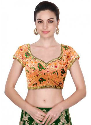 Sweet Heart Neck Blouse Intricate In Resham