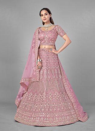 Delightful Pink Color Fancy Work With Soft Net Base Wedding Wear Lehenga Choli