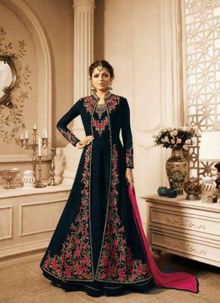 Black Stonework and Georgette Reception Pakistani Slit Cut Suit