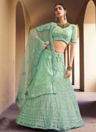 Dreadful Light Green Color Soft Net Base With Sequins Work Lehenga Choli