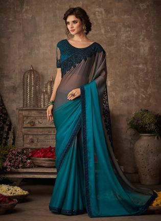 Turquoise Color Silk Base Heavy Work Saree With Designer Blouse