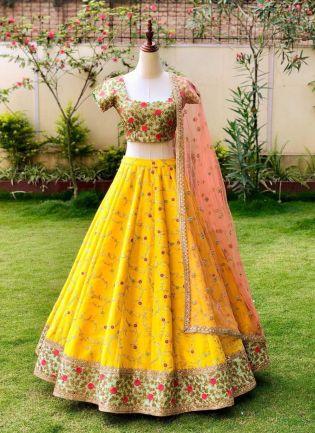 Yellow Color Designer Wedding Wear Embroidered Lehenga Choli