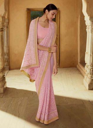 Tremendous Pink Color Georgette Base Heavy Work Designer Saree