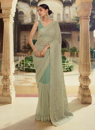 Sophisticated Green Color Soft Net Base Beads Work Designer Saree